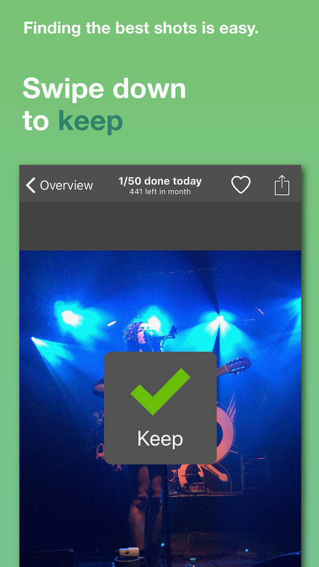 Screenshot showing how to mark an image as keep by swiping down
